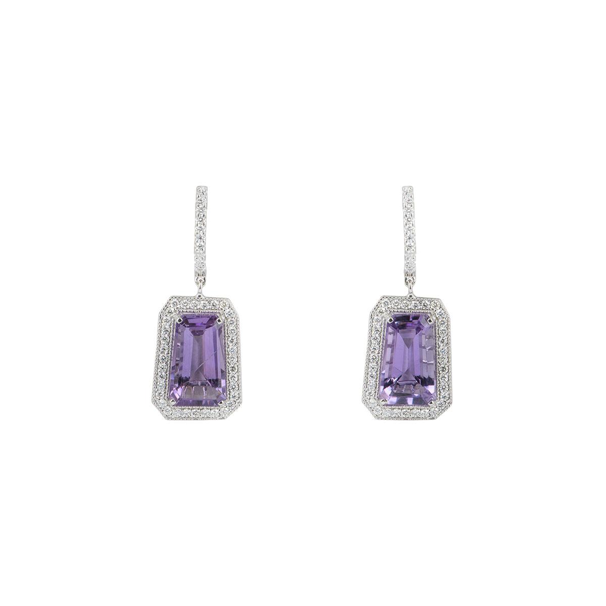 White Gold Diamond & Amethyst Drop Earrings